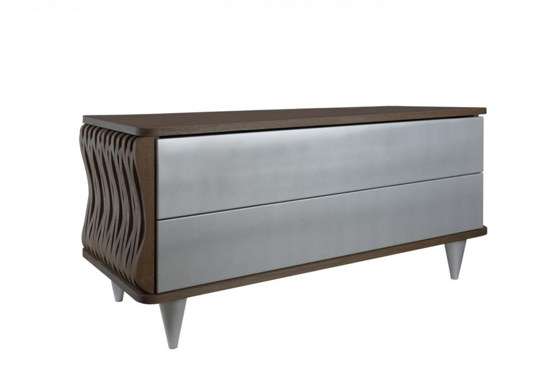 Komoda drewniana ORGANIQUE ciemnobrązowa dwie szuflady srebrne FUR0101