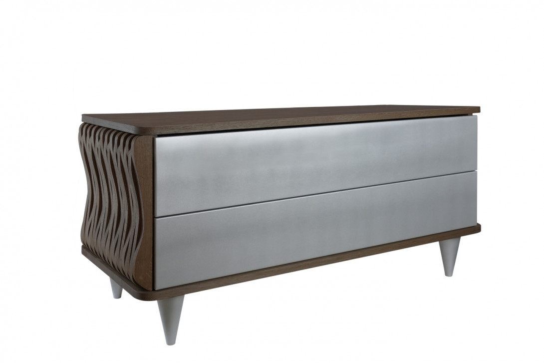 ORGANIQUE wooden chest of drawers FUR0101 dark brown/silver - gie el