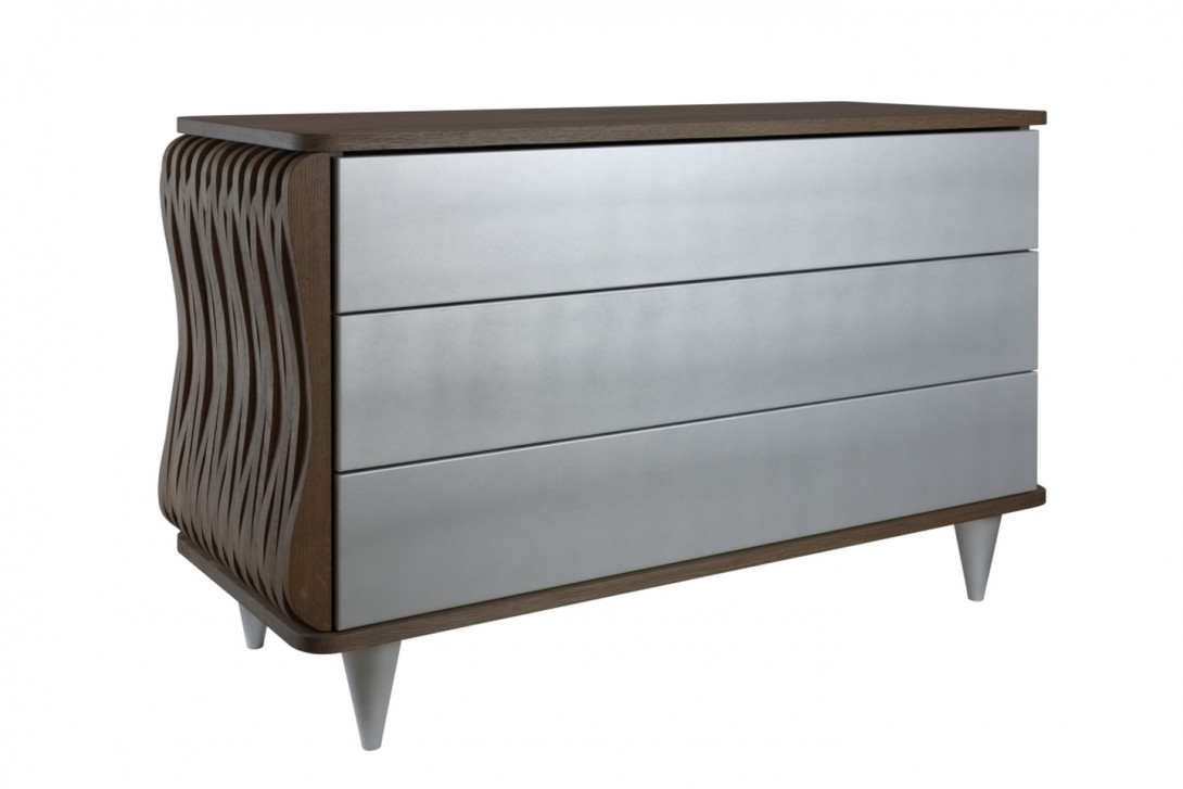 ORGANIQUE wooden chest of drawers FUR0111 dark brown/silver - gie el