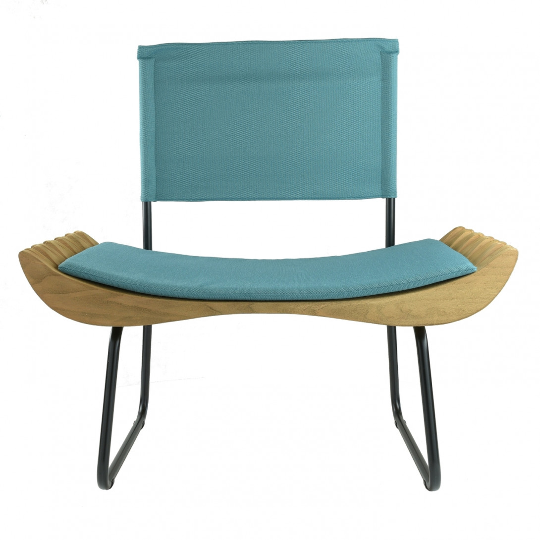 ORGANIQUE wooden armchair on skids FST0282 turquoise seat