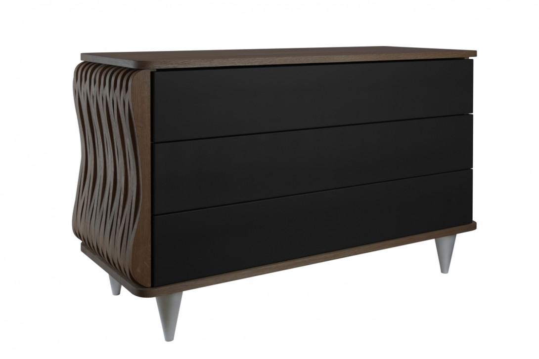 Komoda drewniana ORGANIQUE ciemnobrązowa trzy szuflady czarne FUR0112