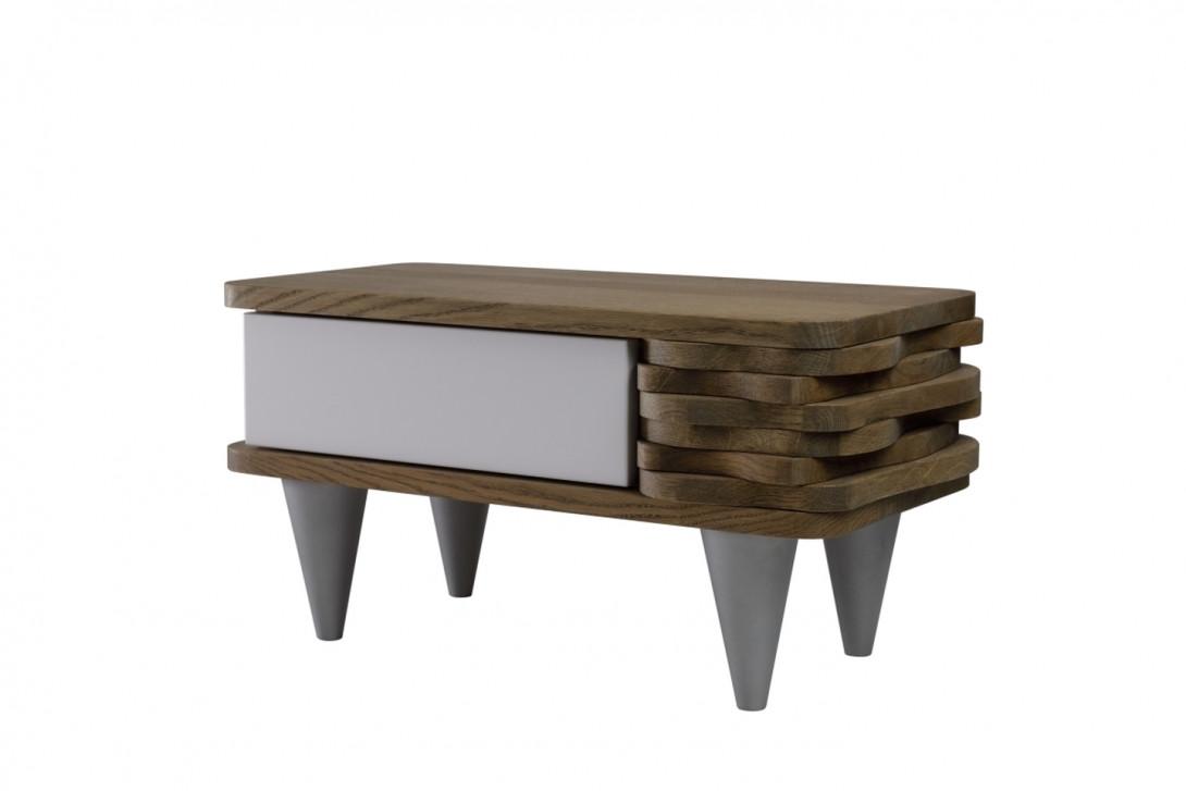 Stolik nocny drewnany ORGANIQUE brązowy z jedną białą szufladą FUR00120