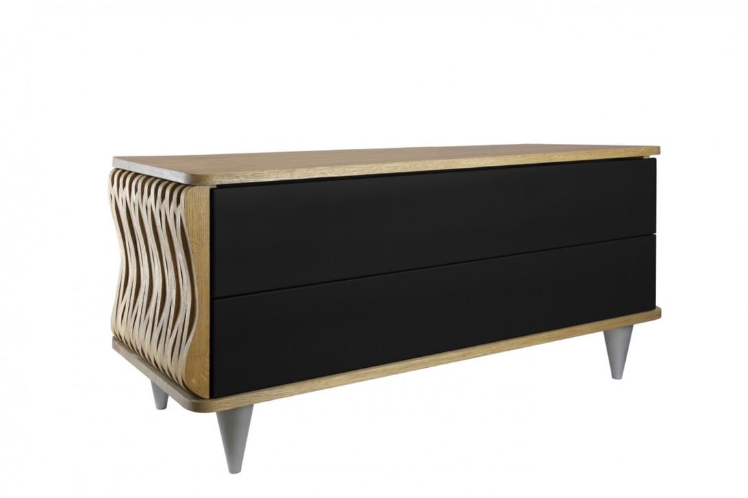 Komoda drewniana ORGANIQUE brązowa dwie szuflady czarne FUR0082