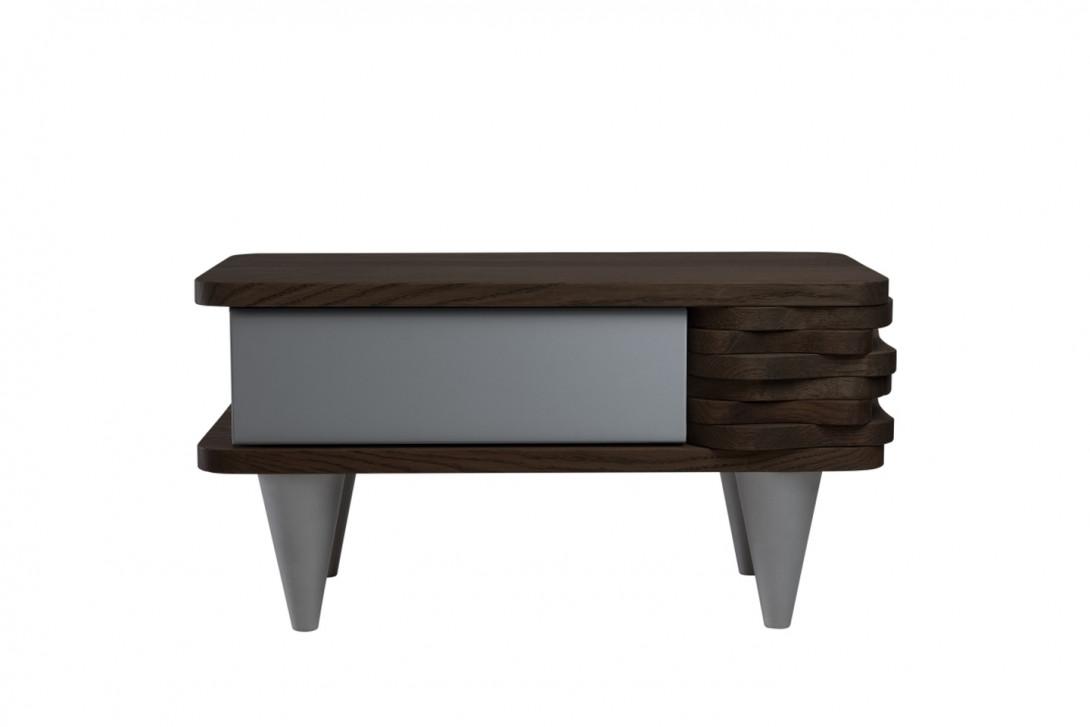 Stolik nocny drewnany ORGANIQUE ciemnobrązowy z jedną srebrną szufladą FUR0141