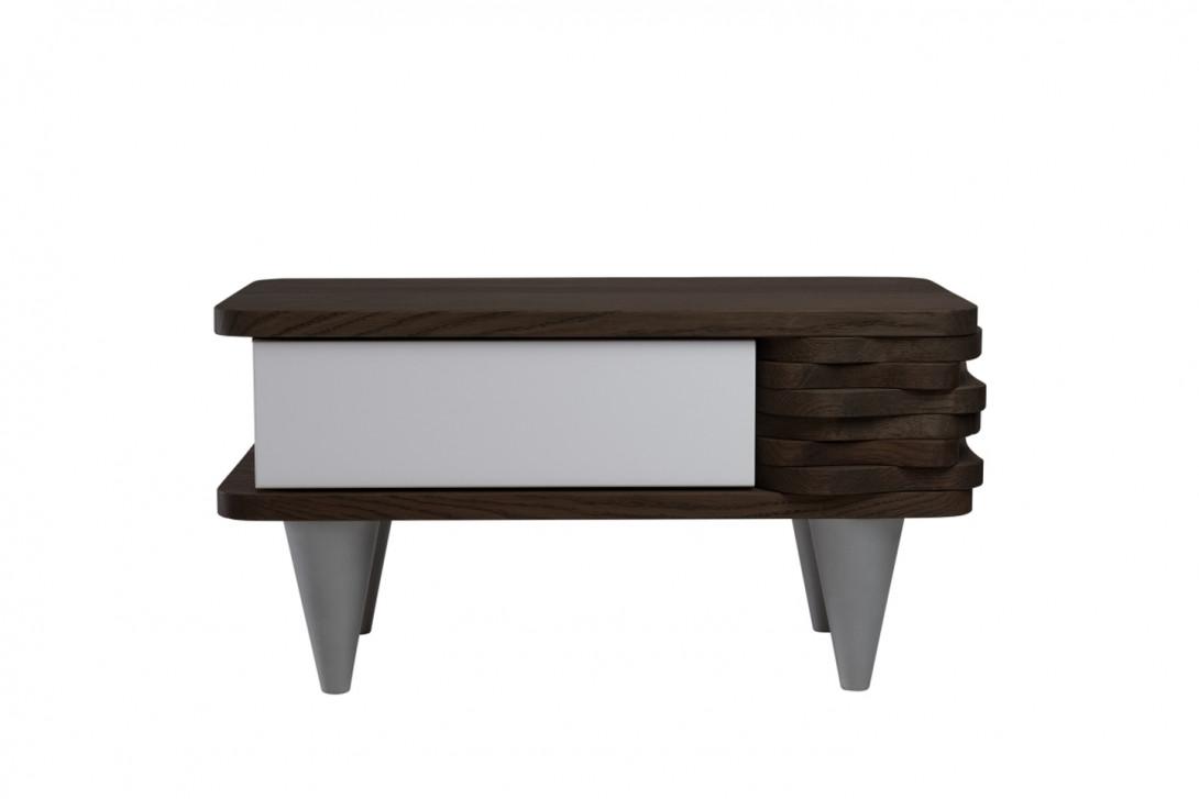 Stolik nocny drewnany ORGANIQUE ciemnobrązowy z jedną białą szufladą FUR0140 - gie el
