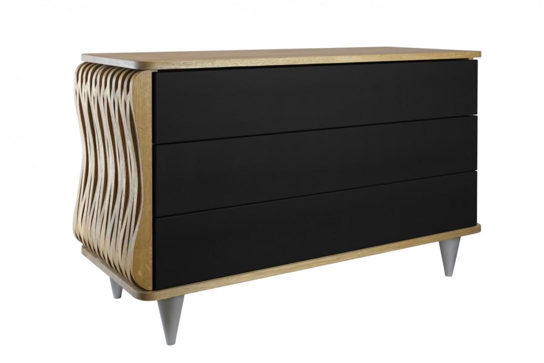Komoda drewniana ORGANIQUE brązowa trzy szuflady czarne FUR0092