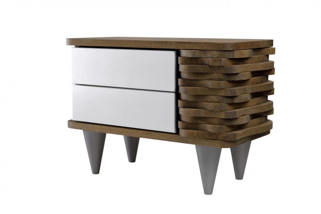 Stolik nocny drewnany ORGANIQUE brązowy z dwoma białymi szufladami FUR0130 - gie el