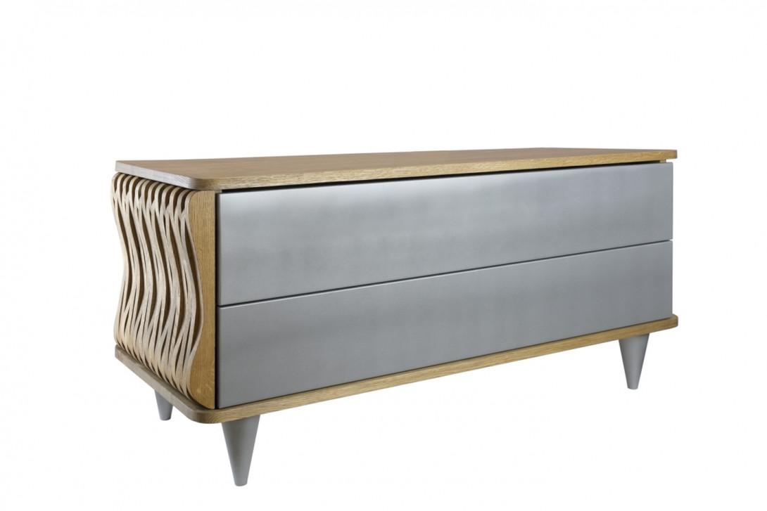 Komoda drewniana ORGANIQUE brązowa dwie szuflady srebrne FUR0081