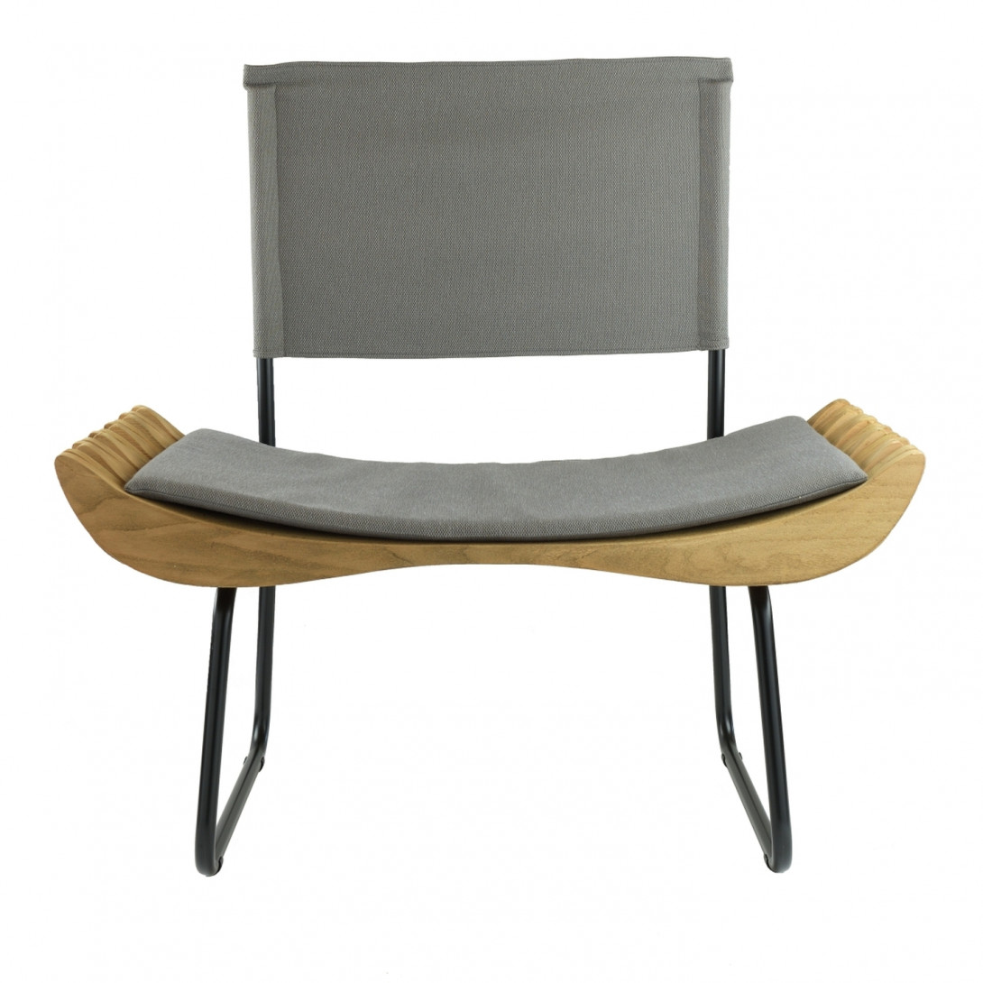 ORGANIQUE wooden armchair on skids FST0281 gray seat - gie el