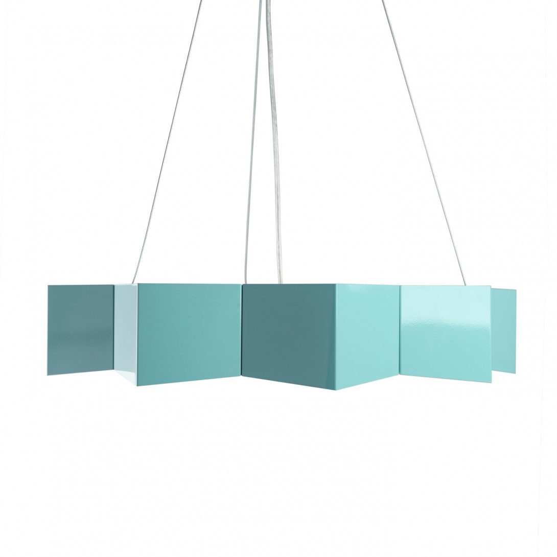 Steel pendant lamp STAR turquoise LGH0533