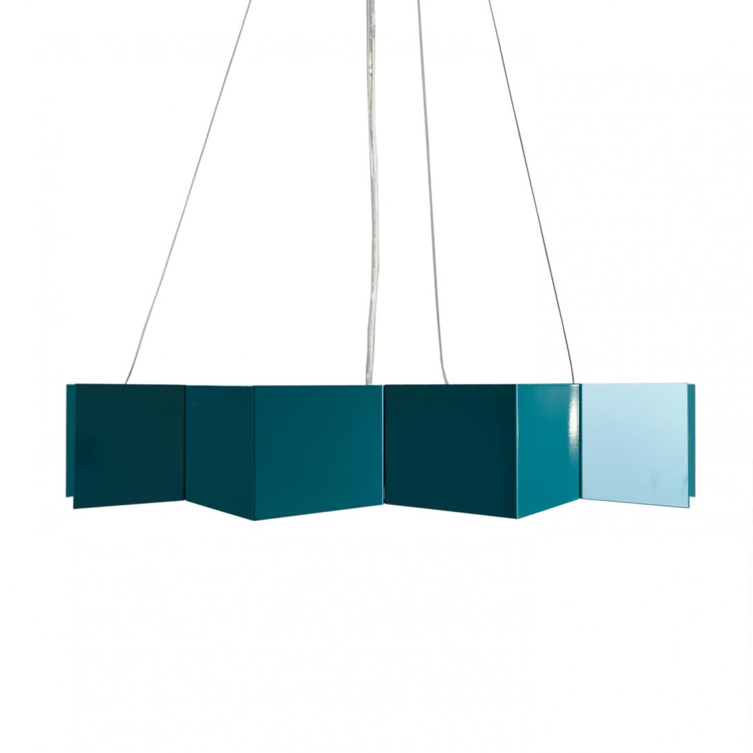 Steel pendant lamp STAR dark turquoise LGH0534