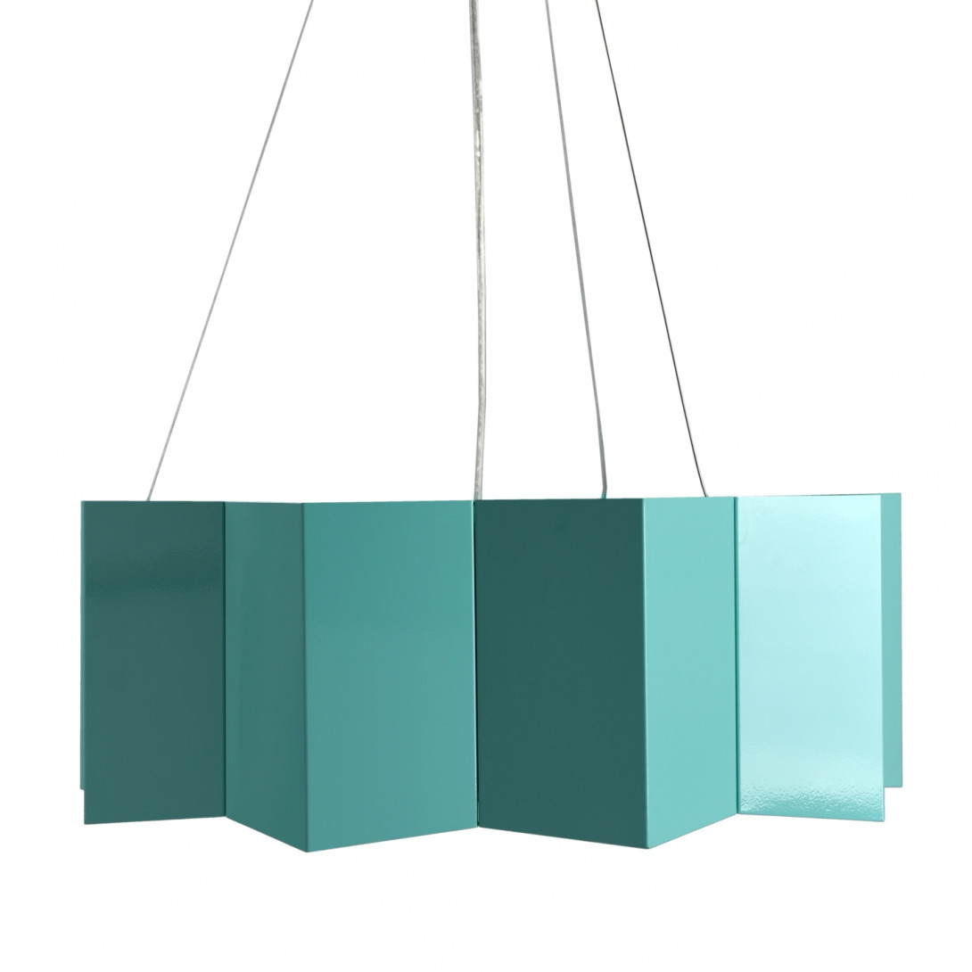 Steel pendant lamp STAR big turquoise LGH0543