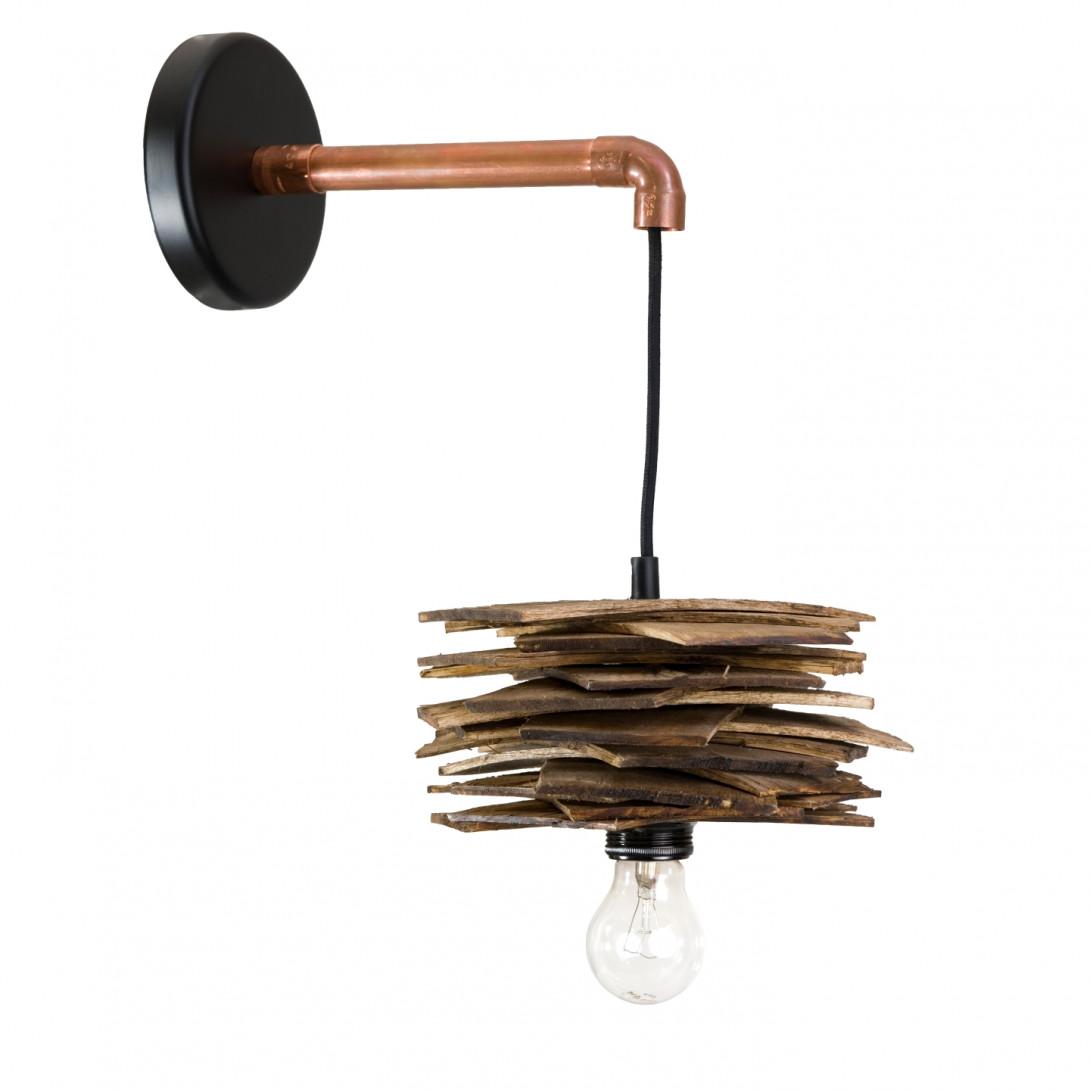 Lampa ścienna drewniana z rurką miedzianą SHINGLE LGH0244