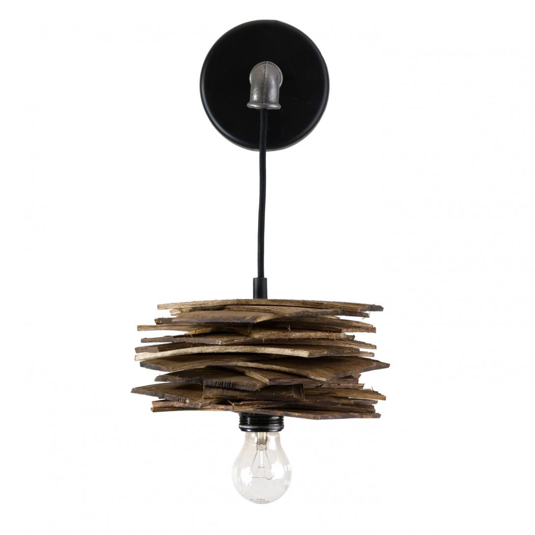 Lampa ścienna drewniana z rurką stalową SHINGLE LGH0245