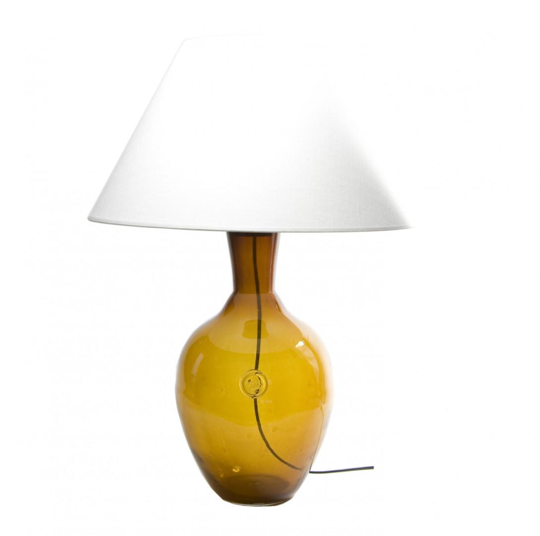 Lampa stołowa szklana miodowa z abażurem RAFAELLO LGH0070