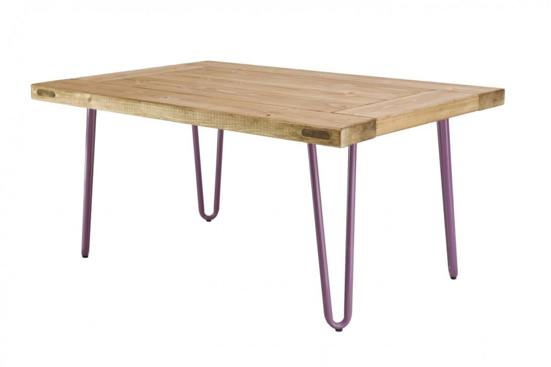 Drewniany stolik kawowy VILLAGE DOOR na fioletowych nogach FCT0013 - gie el