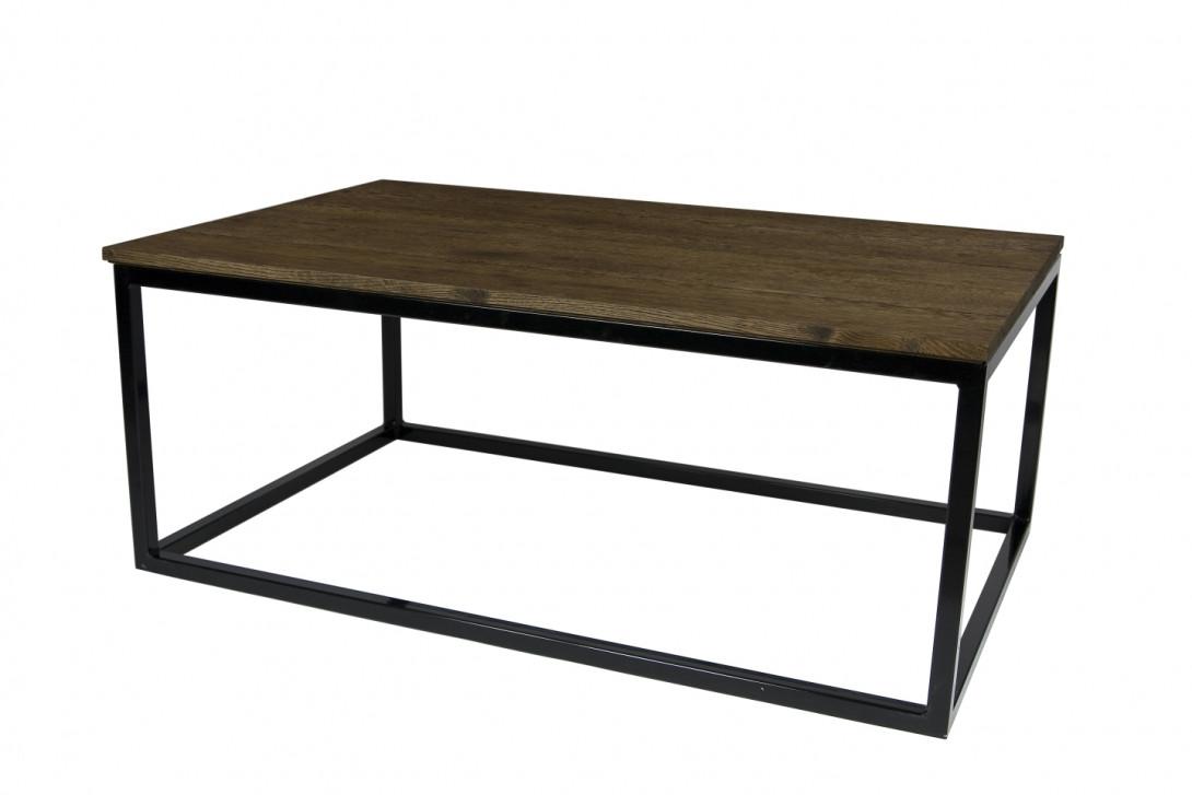 Stolik kawowy drewniany na czarnej ramie FRAMED FCT0055