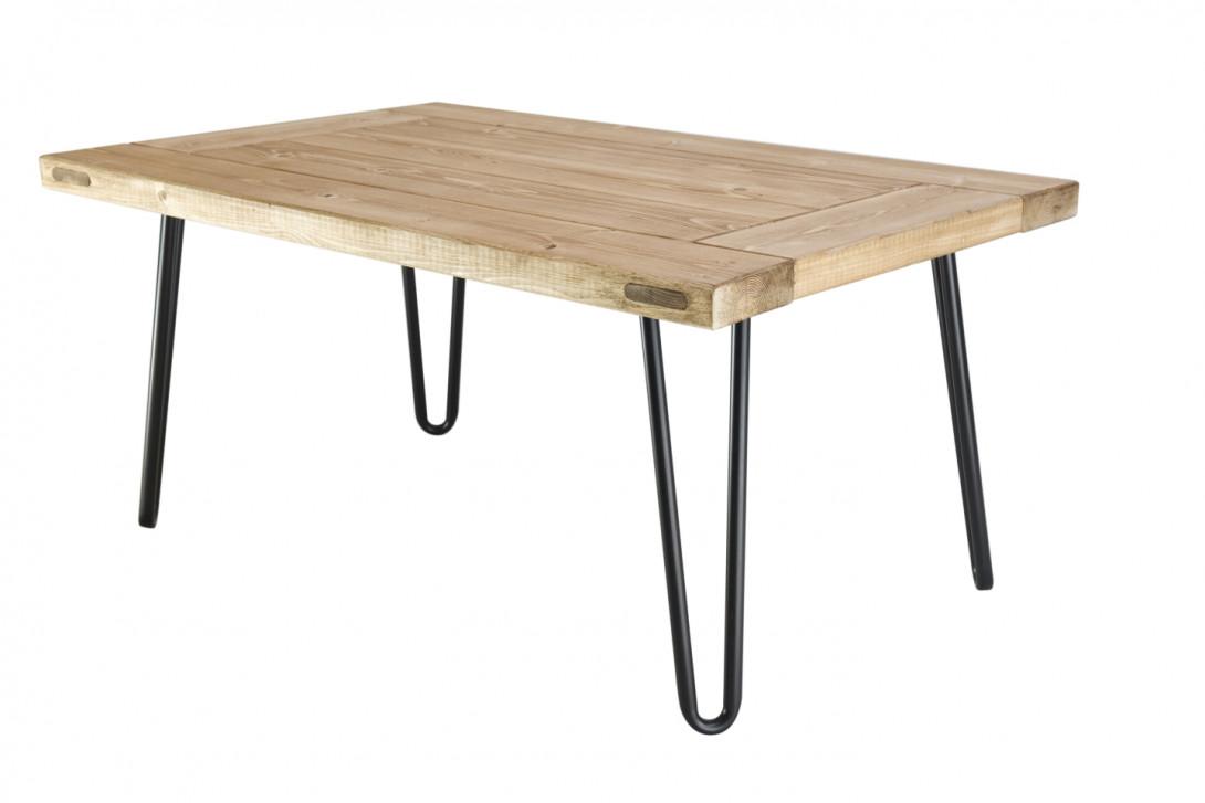 Drewniany stolik kawowy VILLAGE DOOR na czarnych nóżkach FCT0010 - gie el