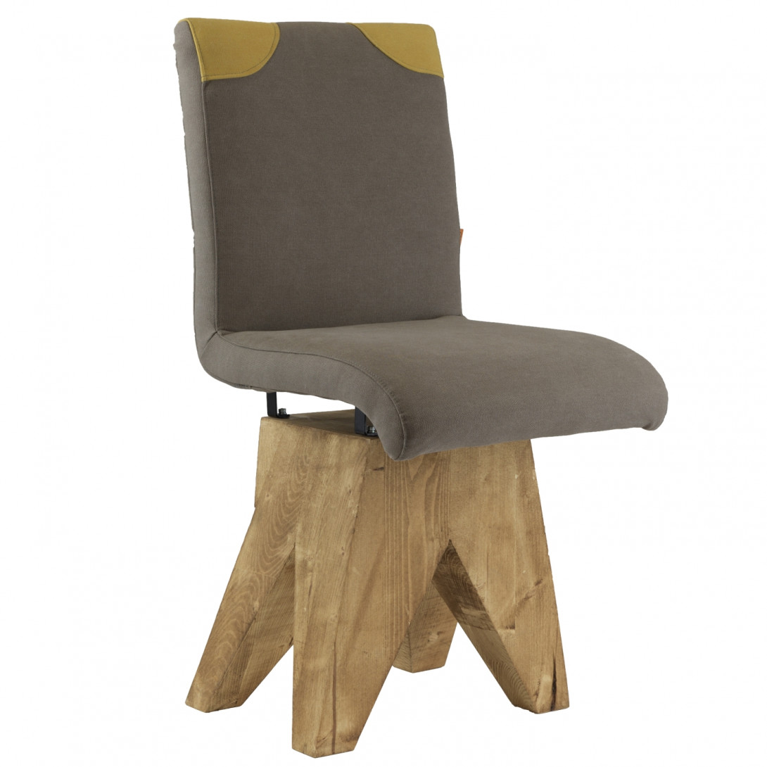 Chair on wooden base PATCHY gray/yellow FST0270 - gie el