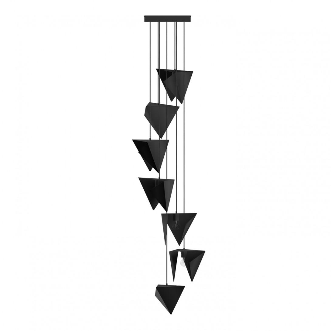 Żyrandol SPIRAL 7 czarny LGH0781