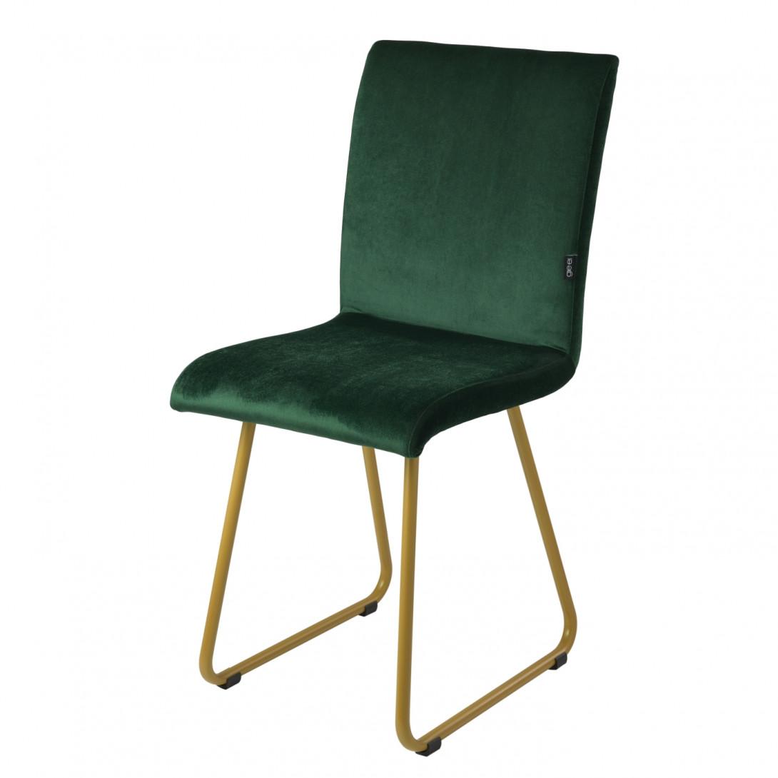 Krzesło na złotych płozach JASMINE ciemno zielone FST0404