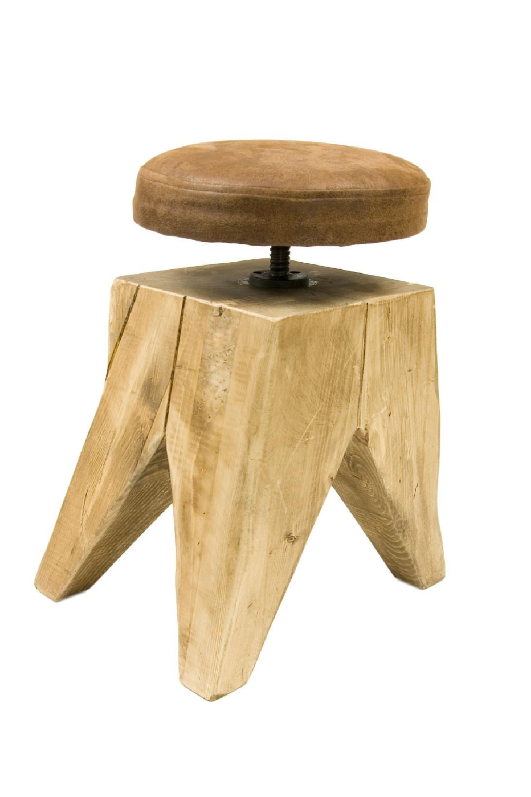 Obrotowy stołek na drewnianej bazie SWIVEL FST0130 - 6