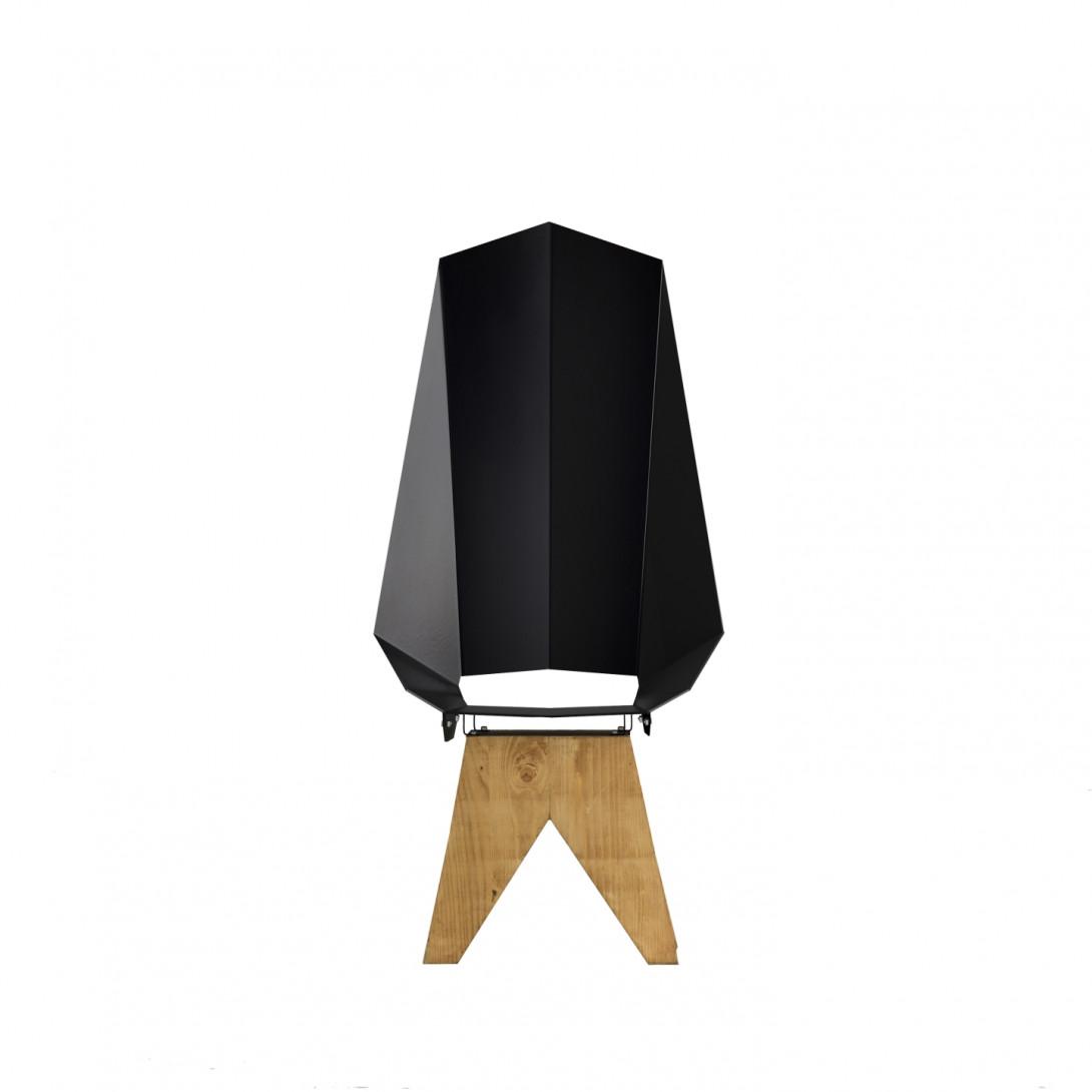 Black steel chair on wooden base KNIGHT THRONE FST0420 - 6