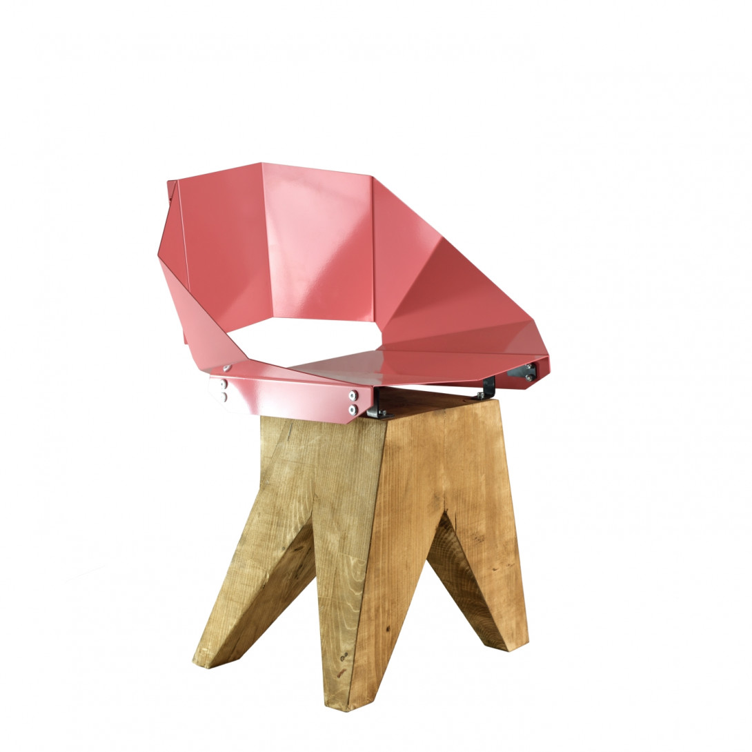 Dusty pink steel chair on wooden base KNIGHT FST0315