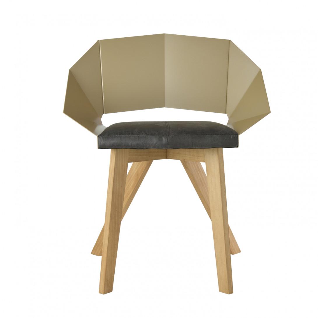 Krzesło KNIGHT na drewnianych nogach szampańsko czarne FST0388