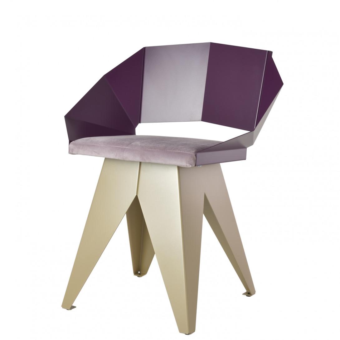 Stalowe krzesło KNIGHT śliwkowo szampańskie FST0396