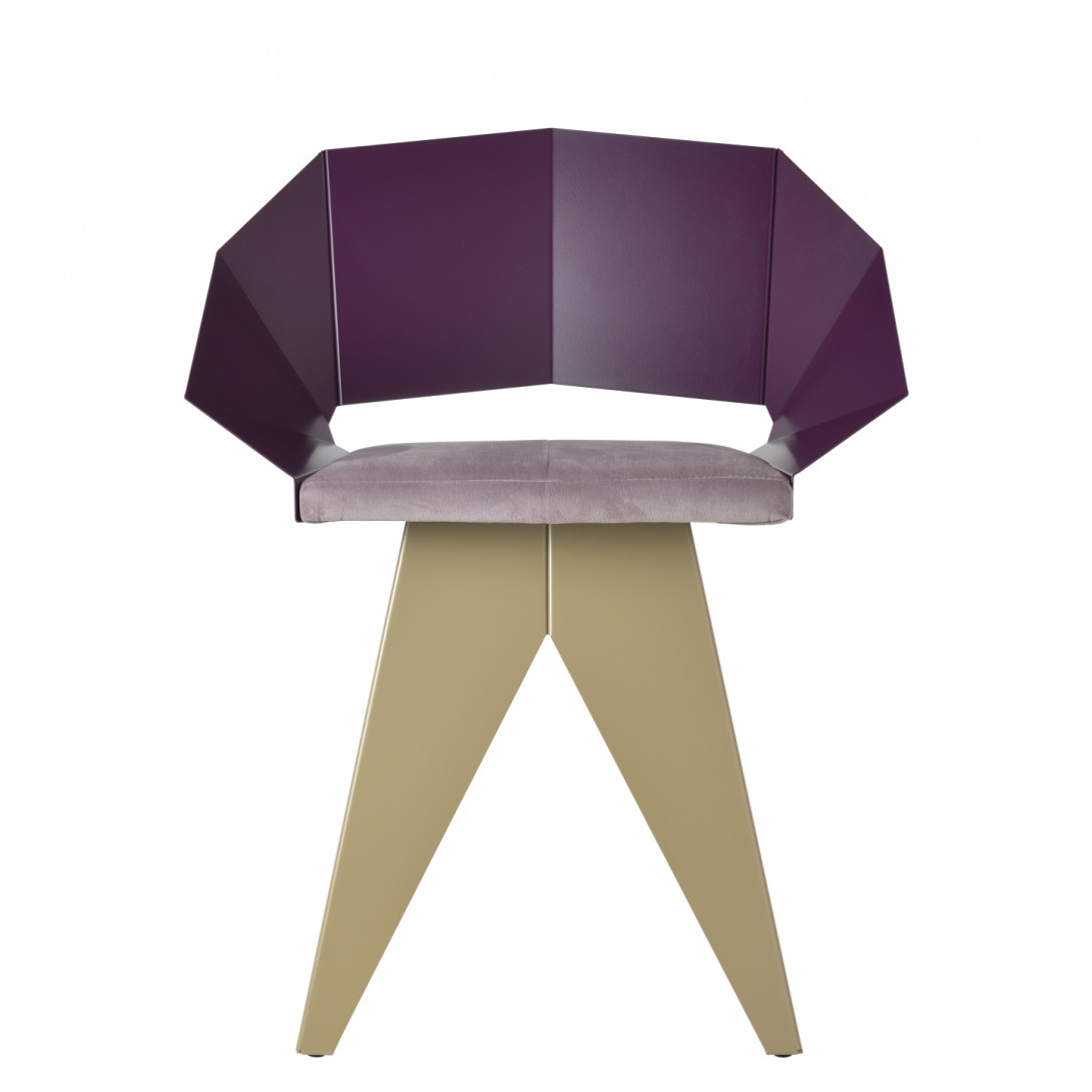 Stalowe krzesło KNIGHT śliwkowo szampańskie FST0396 - 1 - gie el