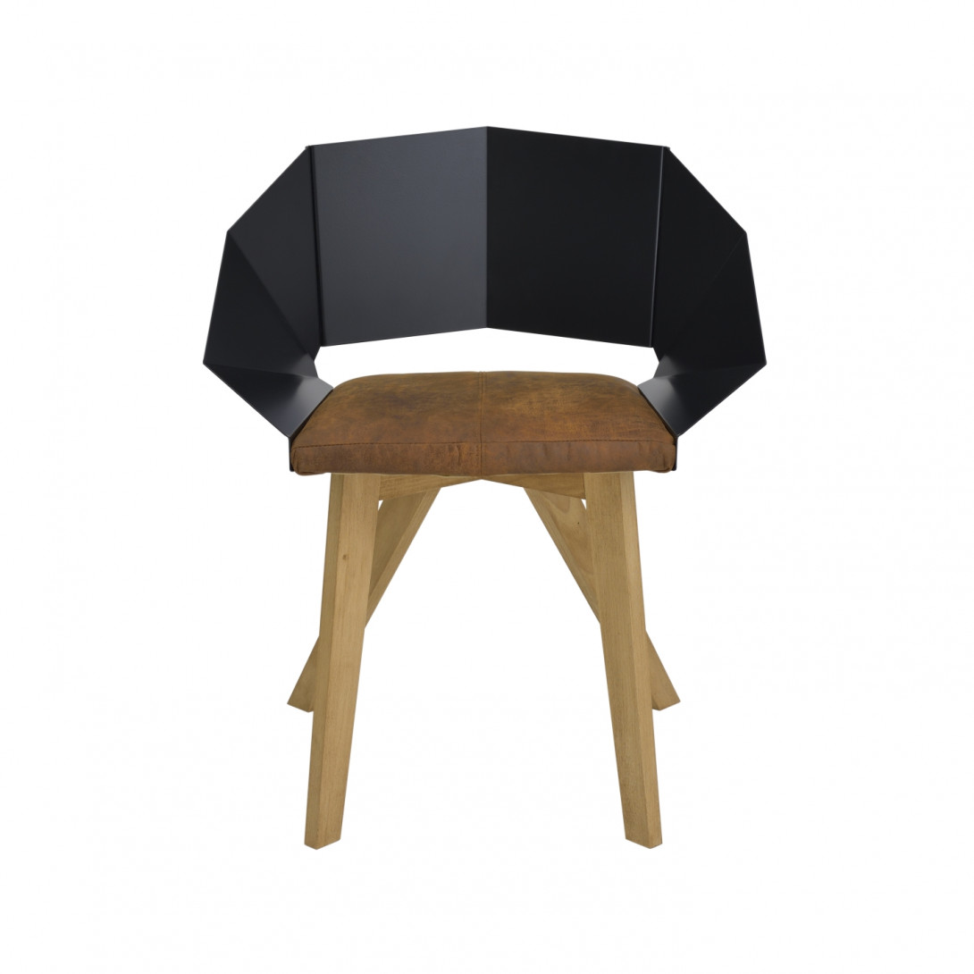 KNIGHT chair on wooden legs black brown FST0380 - 1