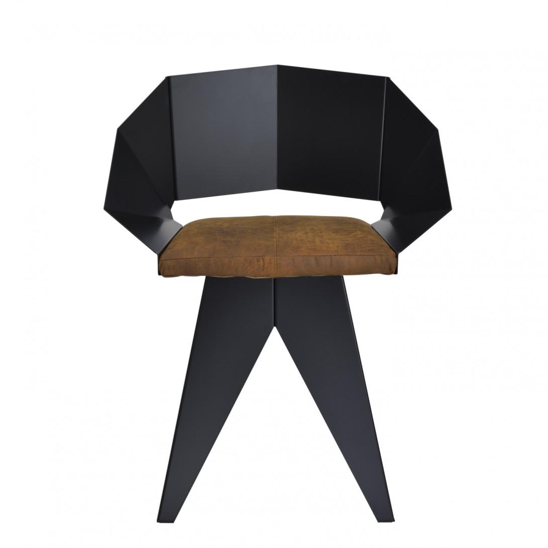 Stalowe krzesło KNIGHT czarno brązowe FST0390