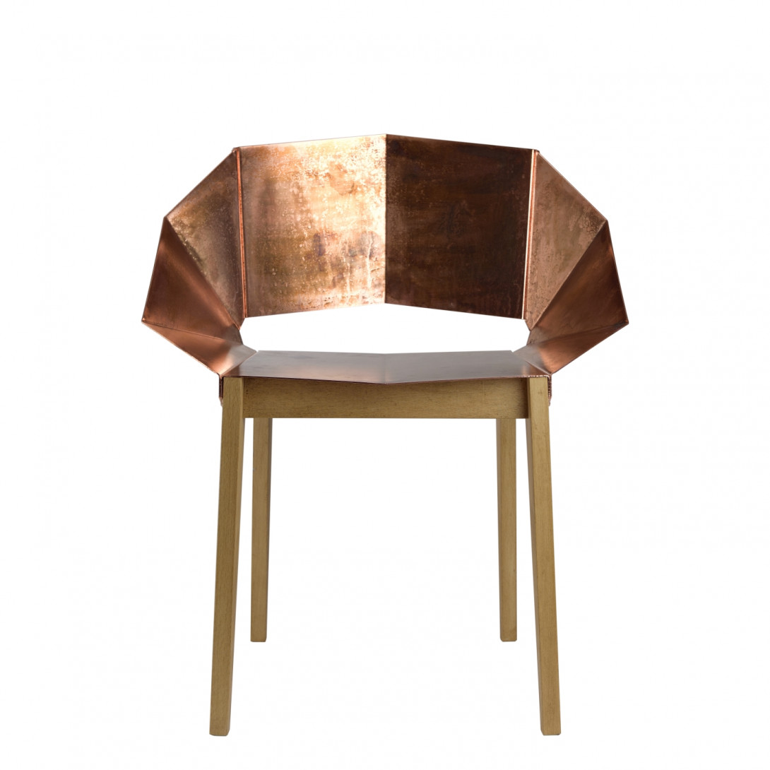KNIGHT chair in copper on wooden legs FST0296