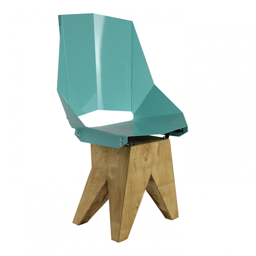 Turquoise steel chair on wooden base KNIGHT big FST0323