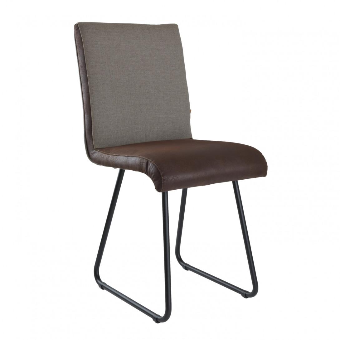Chair on black skids DUO gray/dark brown FST0221 - gie el