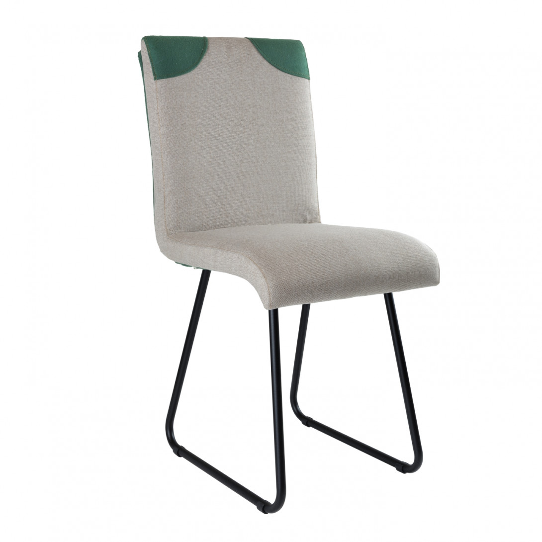 Chair on black skids PATCHY gray/green FST0220