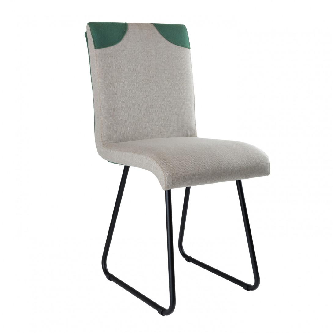 Krzesło na czarnych stalowych płozach PATCHY szary/zielony FST0220 - gie el