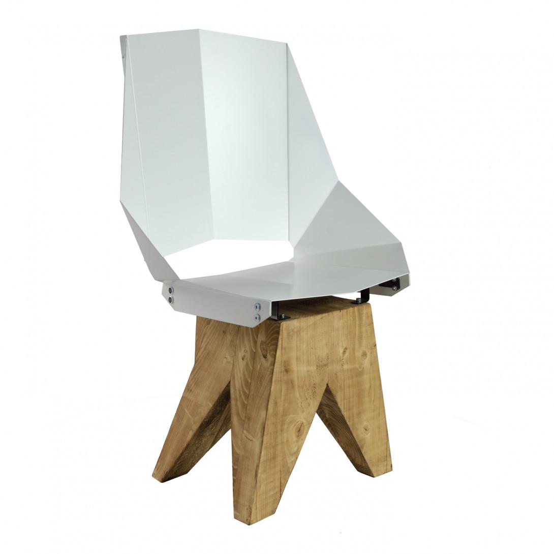 Białe stalowe krzesło na drewnianej bazie KNIGHT big FST0321
