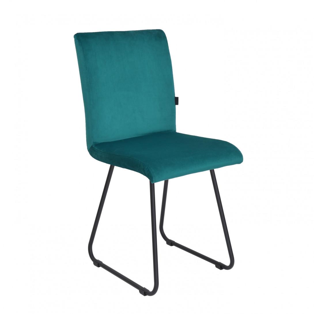 Krzesło na czarnych płozach JASMINE turkusowe FST0402 - gie el
