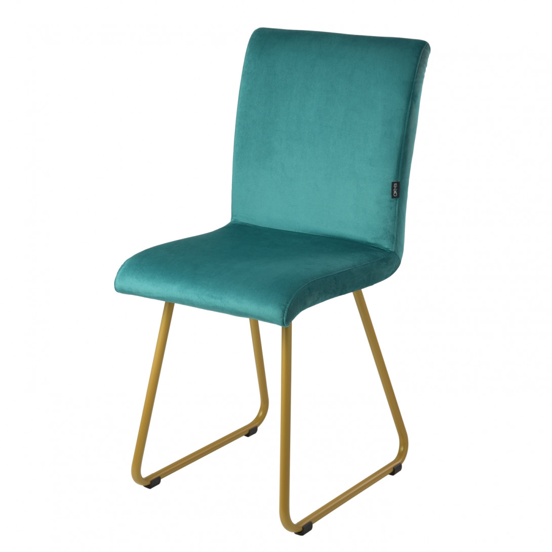 Chair on gold skids JASMINE turquoise FST0405