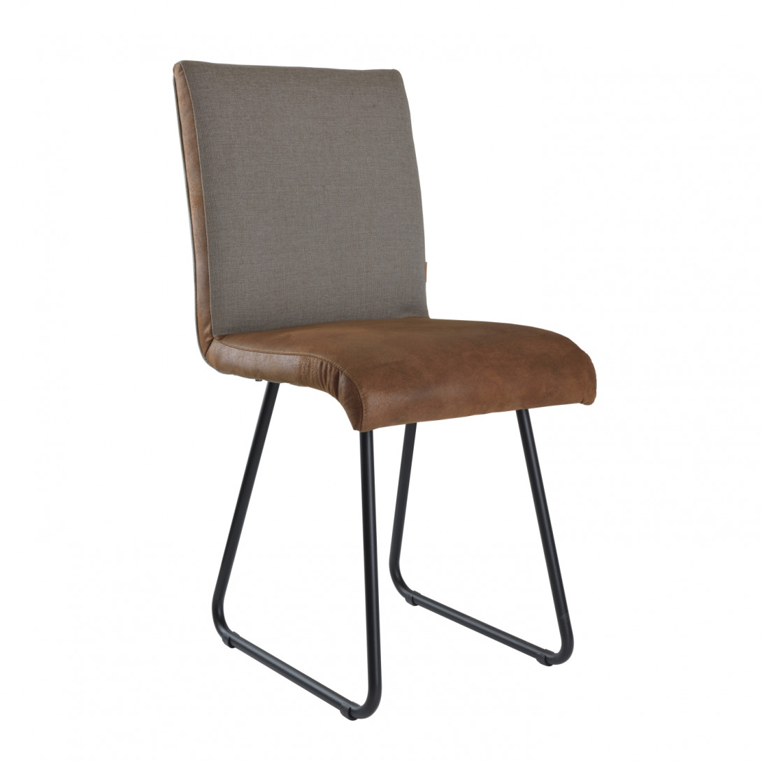 Krzesło na czarnych stalowych płozach DUO szary/brązowy FST0222