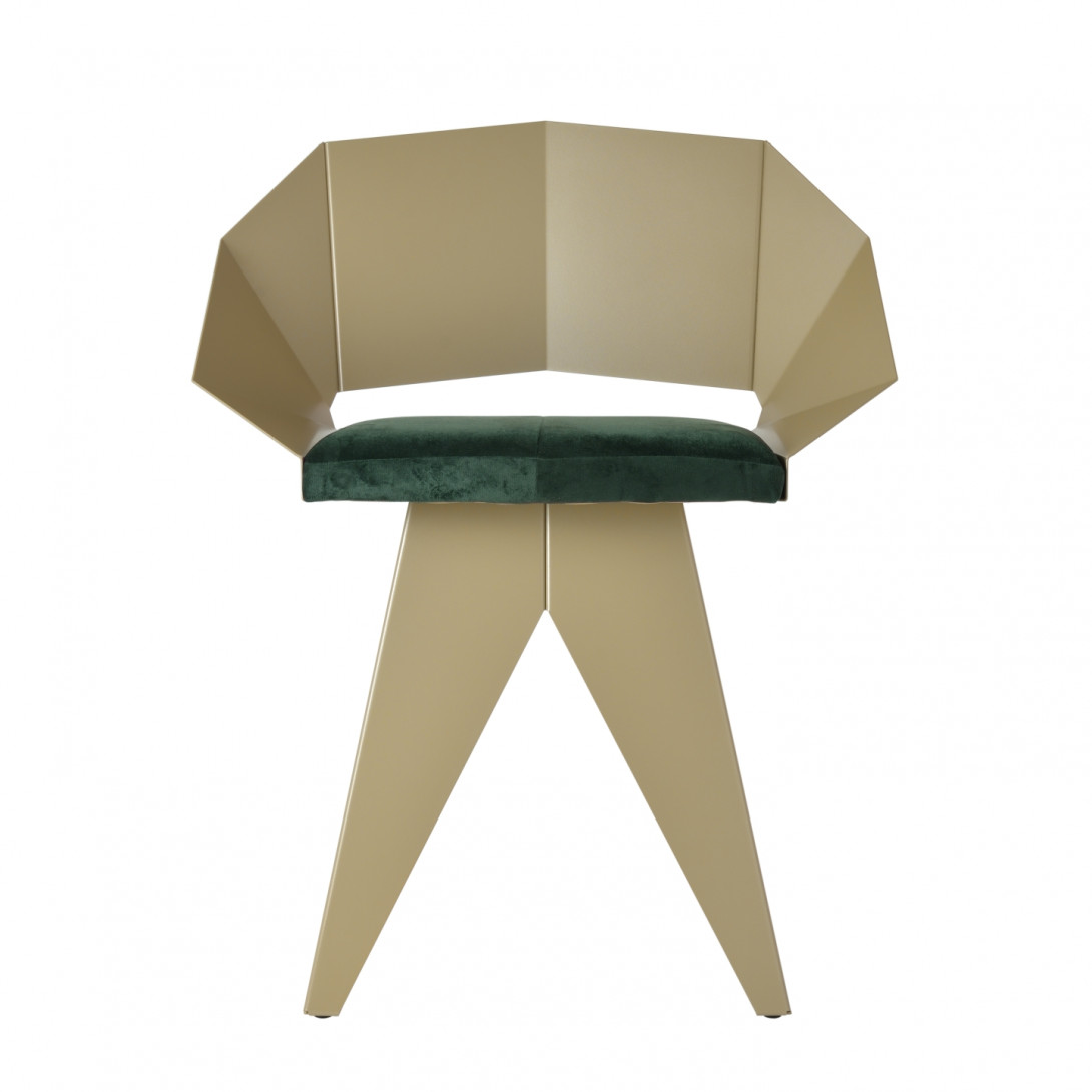 Steel chair KNIGHT champagne green FST0393 - 1