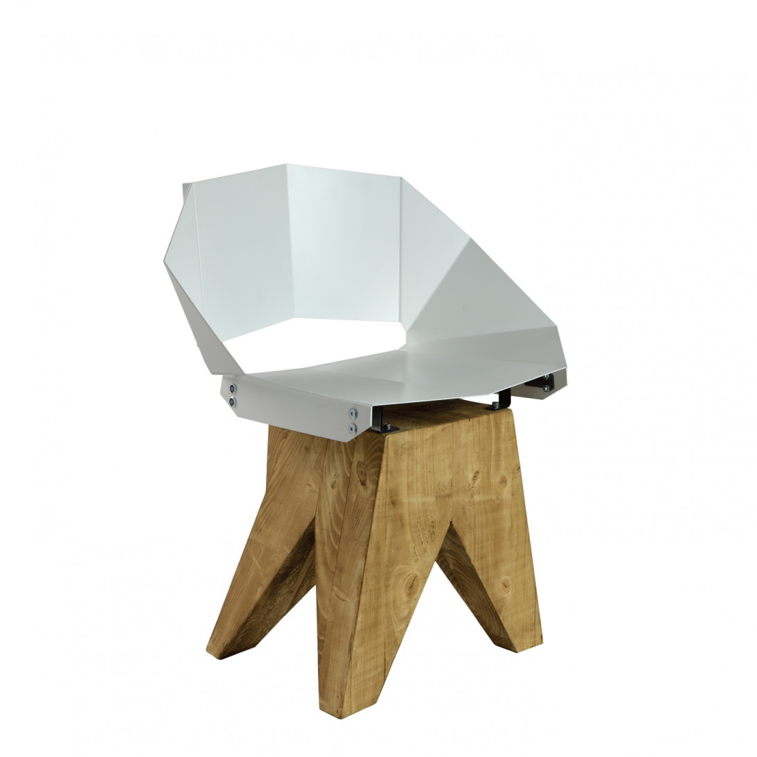 White steel chair on wooden base KNIGHT FST0311