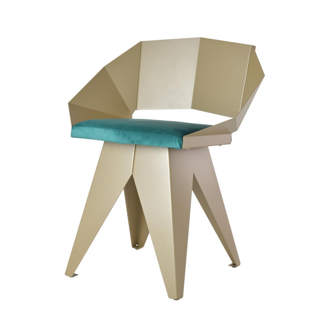 Stalowe krzesło KNIGHT szampańsko turkusowy FST0394