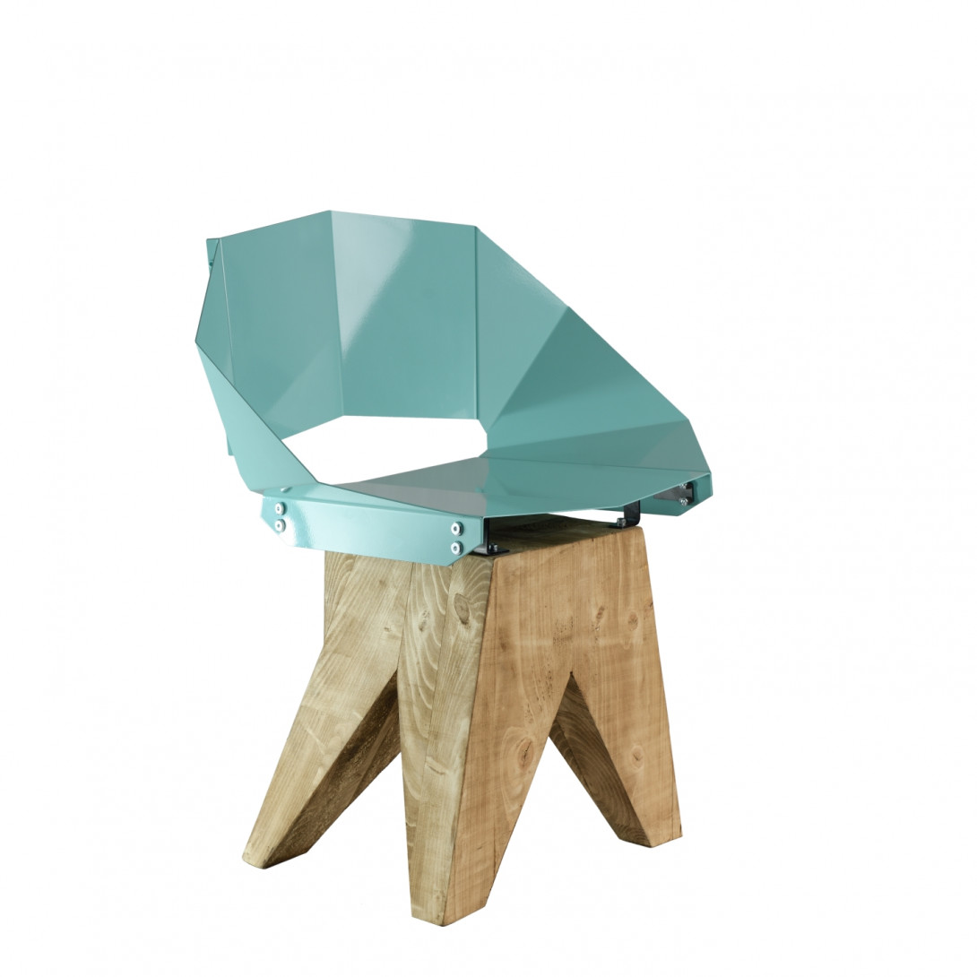 Turquoise steel chair on wooden base KNIGHT FST0313