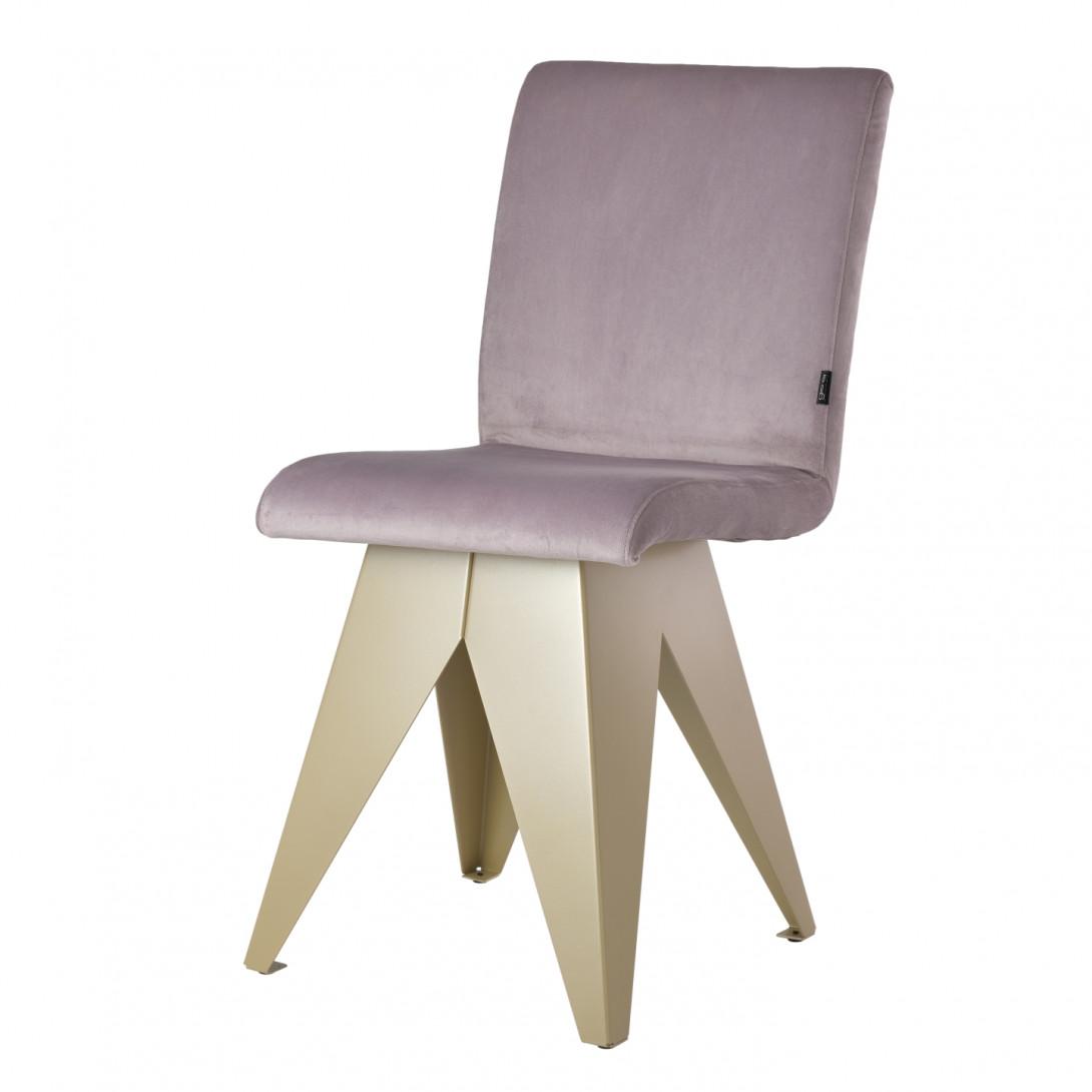Krzesło na szampańskiej podstawie JAFAR różowe FST0413