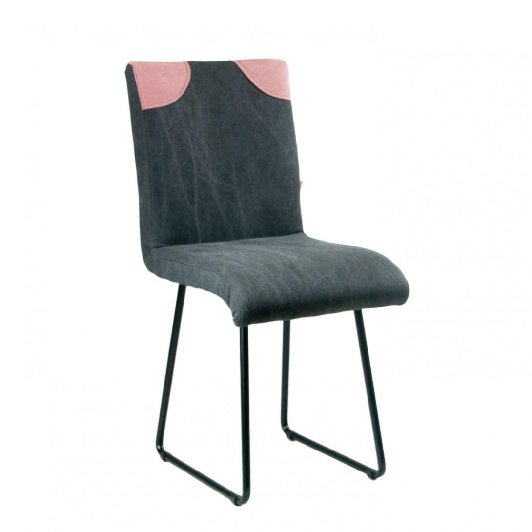 Krzesło na czarnych stalowych płozach PATCHY czarny/różowy FST0213