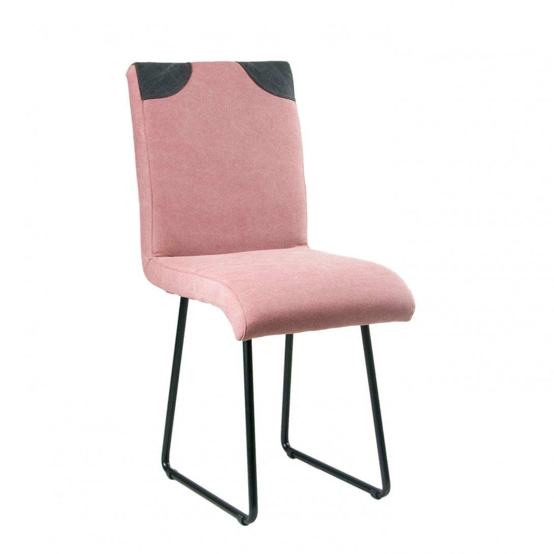 Krzesło na czarnych stalowych płozach PATCHY różowy/czarny FST0212 - gie el