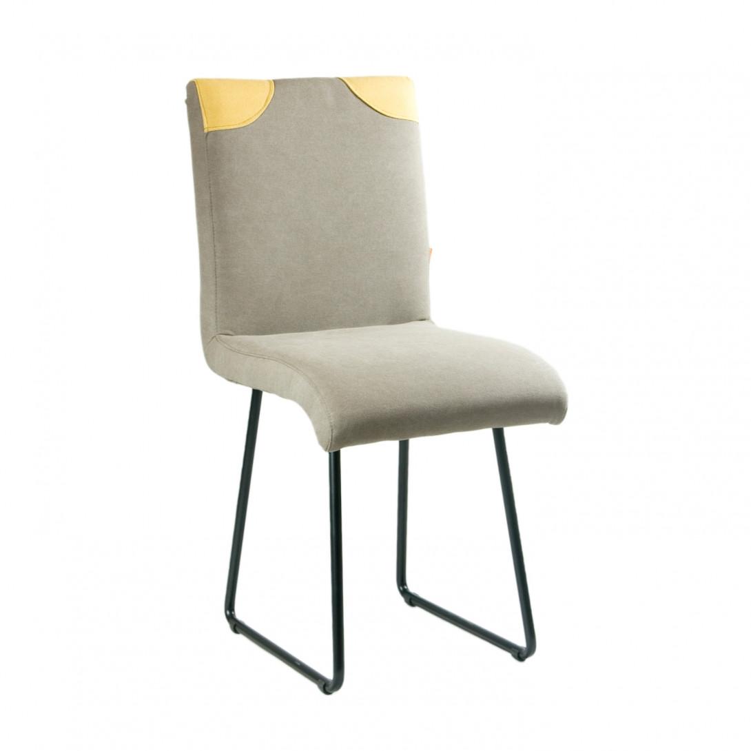 Krzesło na czarnych stalowych płozach PATCHY szary/żółty FST0210